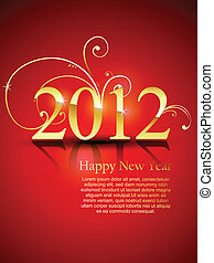 happy new year - stylish golden happy new year vector...