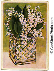 vuntage postcard - Lilies of the Valley - picture artist...