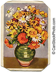 vuntage postcard - Marigolds, chamomile, marigold - picture...