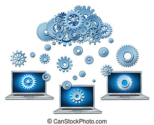 Cloud computing symbol represented by a cloud made of gears...