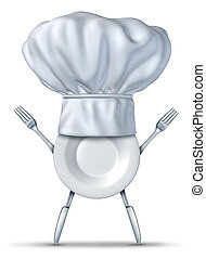 Kitchen chef symbol with fork plate and knife representing...