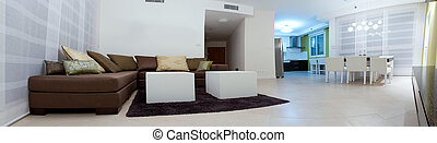 Home Interior - Living room with furnishings in a new house.