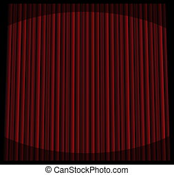 Red stage curtain with spot lights