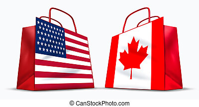 USA and Canada trade symbol represented by two red shopping...