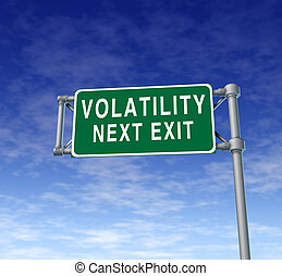 Volatility in the stock market symbol represented by a green...