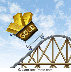Rising gold prices symbol represented by a shopping cart on...