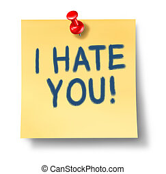 I hate you paper note reminder with red thumb tack...