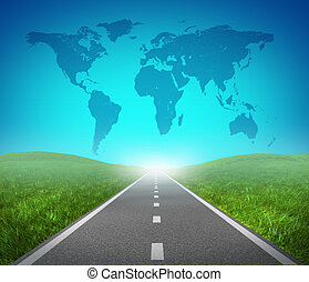 International road highway and global map with green grass...