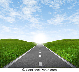 Road with sky - Open road highway with green grass and blue...