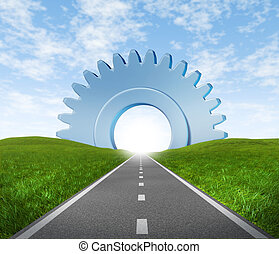 Road to business success - Road highway with green grass and...