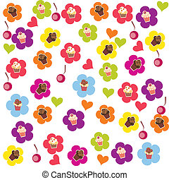 seamless cake pattern Vector illustration