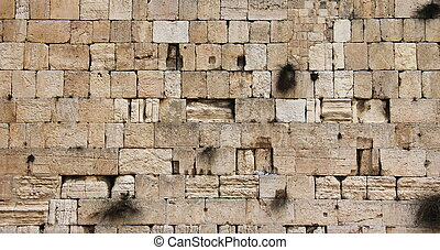 Cut out of Wailing Western Wall - Detail of the Wailing...