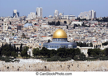 Jerusalem Old City View - A view of Jerusalem old city and...