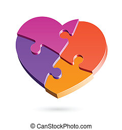 Puzzle heart - Vector illustration of a puzzle heart