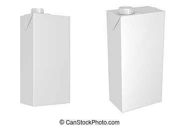 Milk or juice carton packages isolated on white background,...