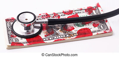 stethoscope - A stethoscope with a wad of bloodstained...