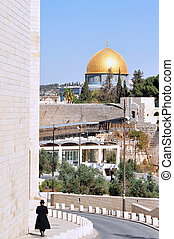 Mosques in Israel - Arab and Jewish men in the Jerusalem old...