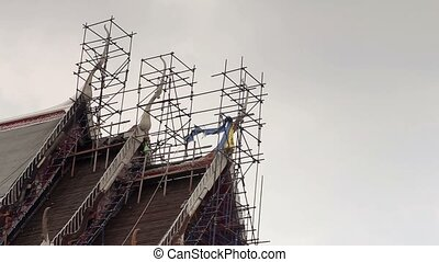 restoration of temple - restoration of the roof of the...