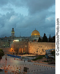 jerusalem old city at evening - wailing wall, dome of the...