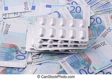 tablet packaging - Tablet packaging on 20 Euro bills
