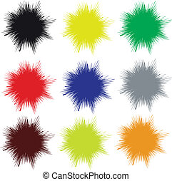 Vector splashes - Set of unicolored vector splashes, which...