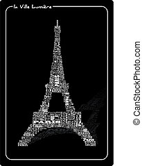Tour eiffel  - abstract tour eiffel with words Paris