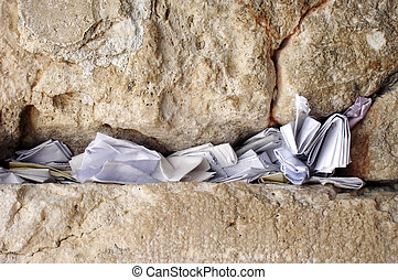 Notes in Western Wall, Jerusalem, Israel - Notes to God in...