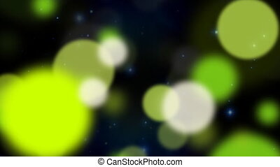 Green and white particles.