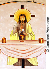 Latrun Monastery Christian Painting - A christian mosaic...
