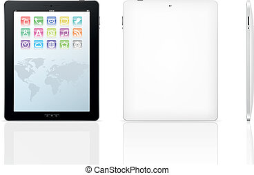 Vector tablet computer. Set icons on screen