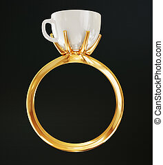 ring - gold ring isolated on a black background