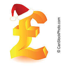 symbol in red cap pounds Santa - gold symbol in red cap...