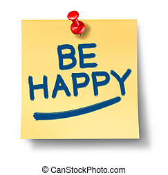 Be Happy yellow office note reminder with a red thumb tack...