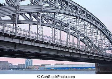 Bolsheohtinskij bridge, St. Petersburg, Russia. -...
