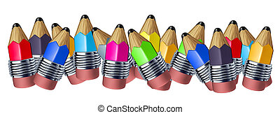 Multi color mixed pencil border with mini pencils showing...