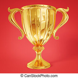 winner cup - golden winner cup isolated on a red