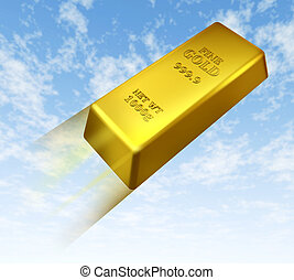 Rising price of gold represented by a gold bar going up in...
