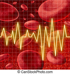 Blood cells with an ekg heart monitor symbol on a graph grid...
