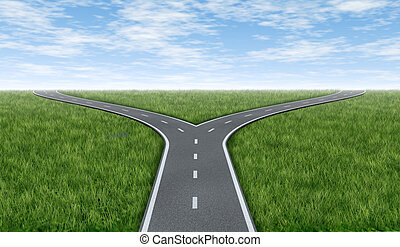 Cross roads horizon with grass and blue sky showing a fork...