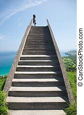 stone staircase to heaven - viewpoint near to Llanes village...