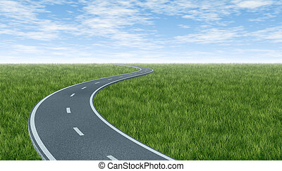 Horizon with curved highway road with green grass and sky...