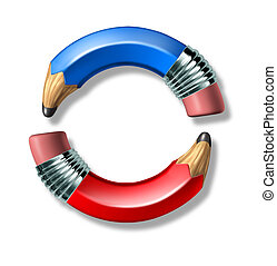 Blue and red pencil symbol - Blue and red curved pencil...