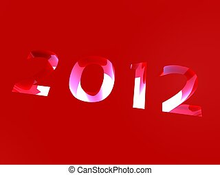 3d illustration of the new year extruded and lit from below on a red background