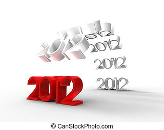 3d illustration of a bridge formed by the new year 2012 on a white background