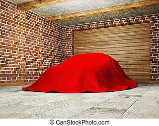 garage - car hidden under a cloth in garage.