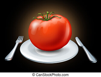 Healthy eating - Healthy diet represented by a white dish...