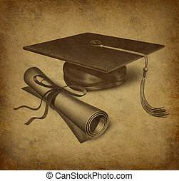 Graduation symbol - Graduation hat and diploma with vintage...
