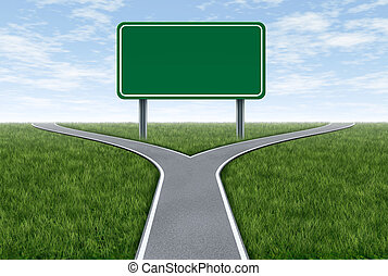 Road sign metaphor - Blank highway and road sign metaphor...