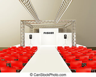 show - modern showroom with a red chairs and steel...