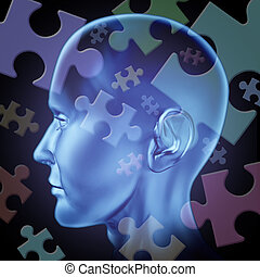 Puzzled brain - Puzzled mind and brain teasers symbol...